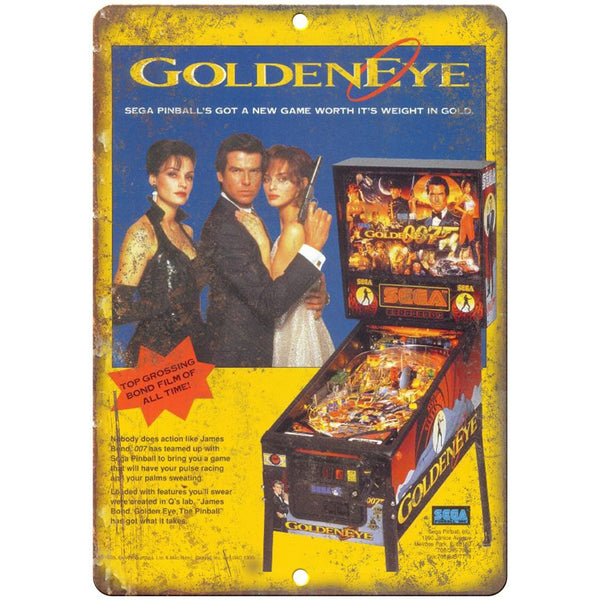 "Sega Pinball Machine Golden Eye James Bond 10"" X 7"" Reproduction Metal Sign G100"