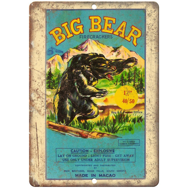 "Big bear Firecrackers Package Art 10"" X 7"" Reproduction Metal Sign ZD42"