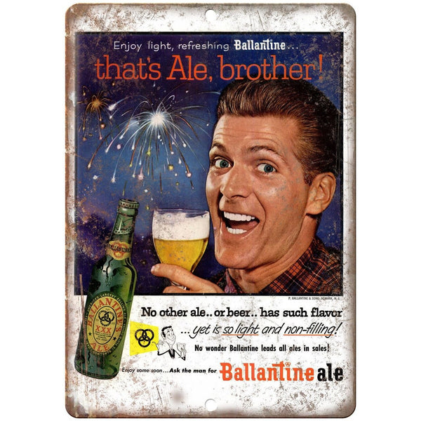 "Ballantine Ale That's Al Brother Vintage Ad 10""x 7"" Reproduction Metal Sign E284"