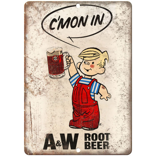 "A&W Root Beer Dennis The Menace 10"" x 7"" Reproduction Metal Sign"