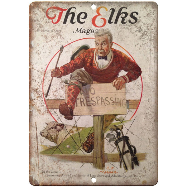 "The Elks Magazine Golf vintage ad No Tresspassing 10"" x 7"" retro metal sign"