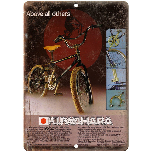 "Kuwahara BMX Racing Vintage Bicycle Ad 10"" x 7"" Reproduction Metal Sign B463"