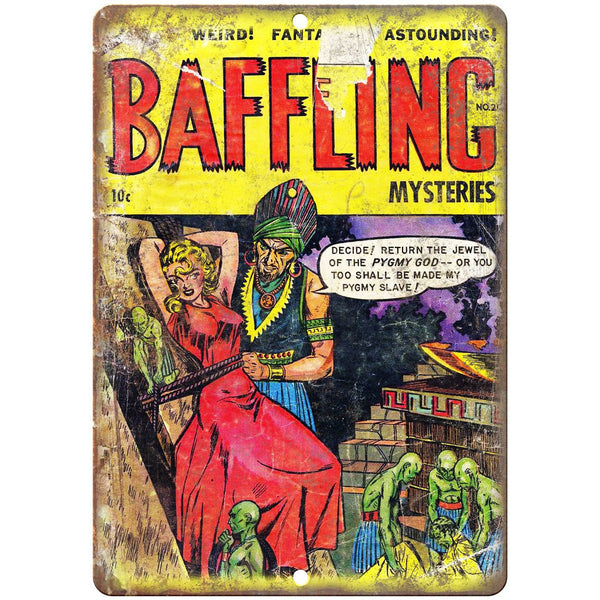 "Baffling Mysteries Ace Vintage Comic Book 10"" x 7"" Reproduction Metal Sign J526"