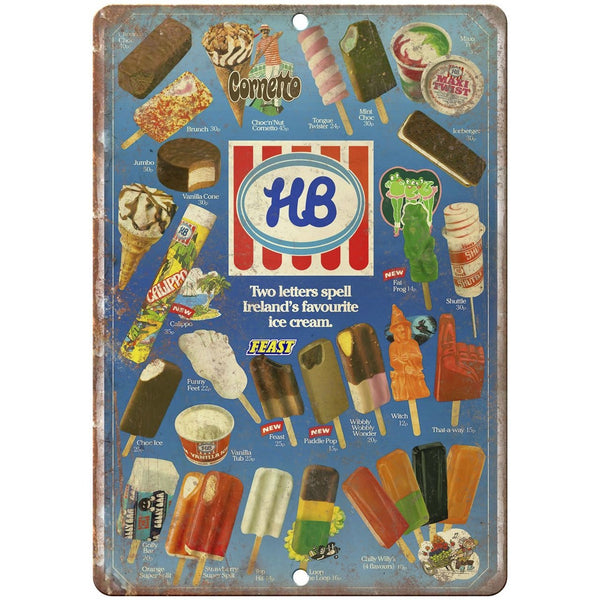 "HB Ice Cream Ireland 80's Menu 10"" x 7"" Reproduction Metal Sign"