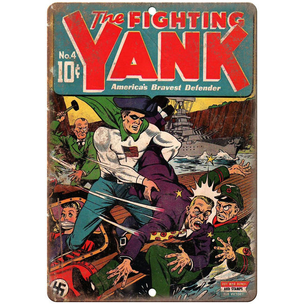 "The Fighting Yank No 4 Comic Book Cover 10"" x 7"" Reproduction Metal Sign J739"