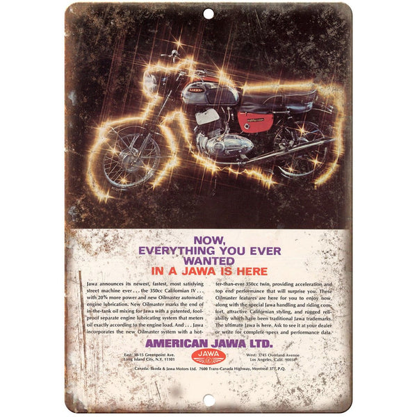 "Jawa LTD. Motorcycle Vintage Ad 10"" x 7"" Reproduction Metal Sign A478"