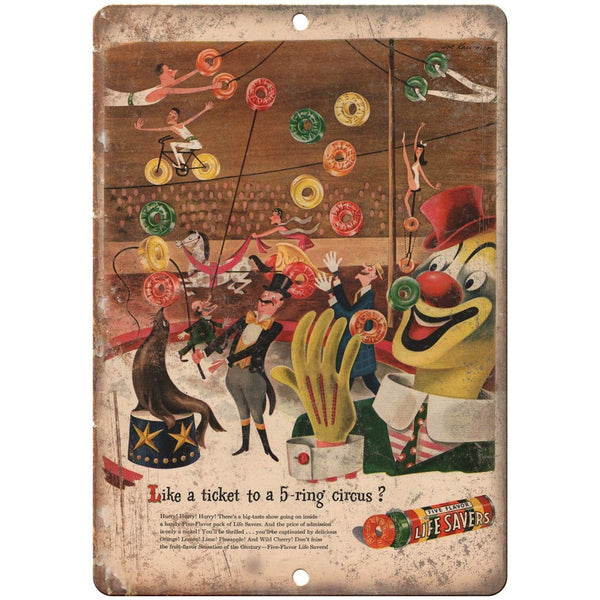 "Life Savers Clown Vintage Circus Ad 10"" X 7"" Reproduction Metal Sign ZH81"