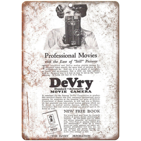 "1926 - DeVry Movie Camera Film - 10"" x 7"" Retro Look Metal Sign"