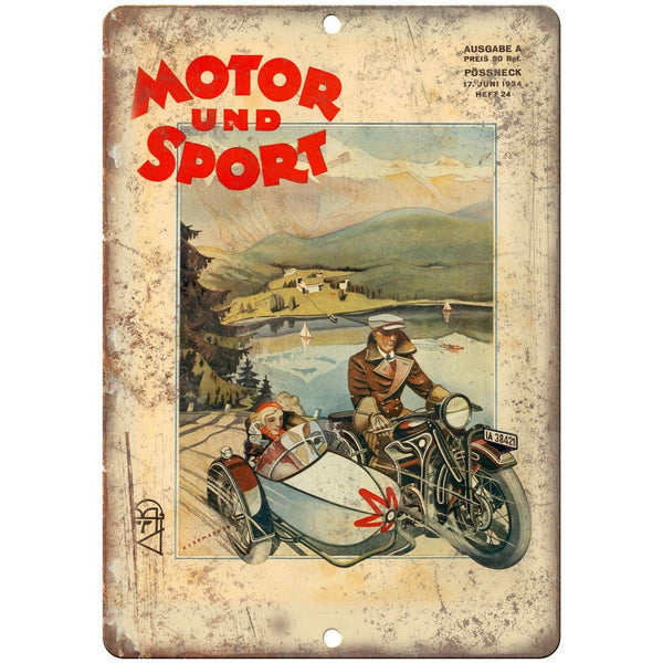 "Motor Sport Vintage Motorcycle Poster 1934 10"" x 7"" Reproduction Metal Sign F12"