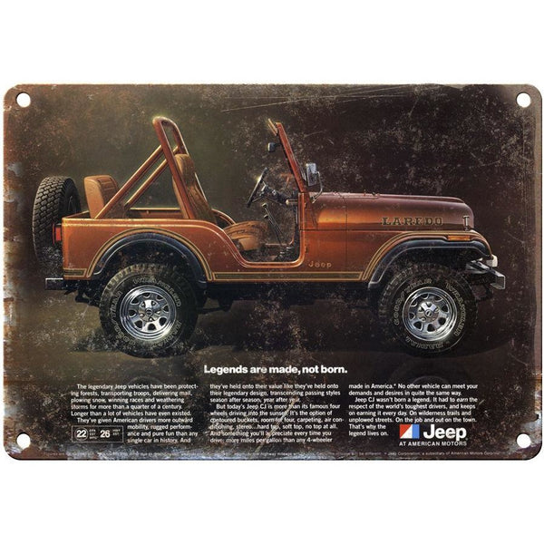 "Vintage Jeep Laredo ad 10"" x 7"" Reproduction Metal Sign"