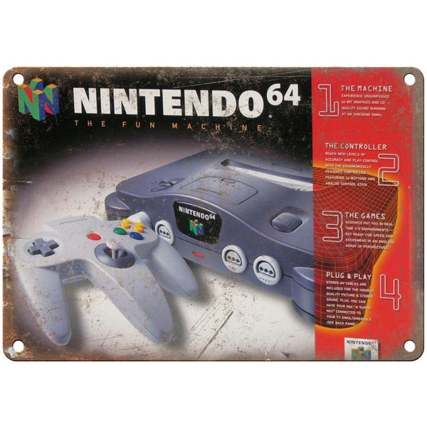 "Nintendo 64 Box Art Retro Gaming 10"" x 7"" Reproduction Metal Sign"