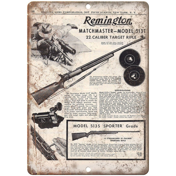 "Remington Manchester Model 5135 22 Caliber Vintage Ad 10"" x 7"" Metal Sign"