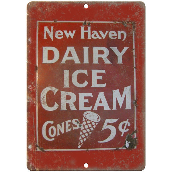 "New Haven Dairy Ice Cream Porcelain Look 10"" X 7"" Reproduction Metal Sign U91"