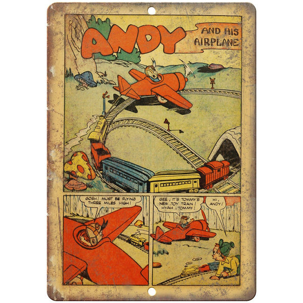 "Andy And His Airplane Comic Vintage Strip 10"" x 7"" Reproduction Metal Sign J571"