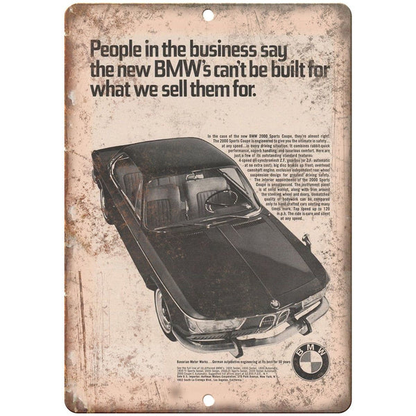 "BMW 2000 Sports Coupe Bavarian Motor 10"" x 7"" Reproduction Metal Sign A106"