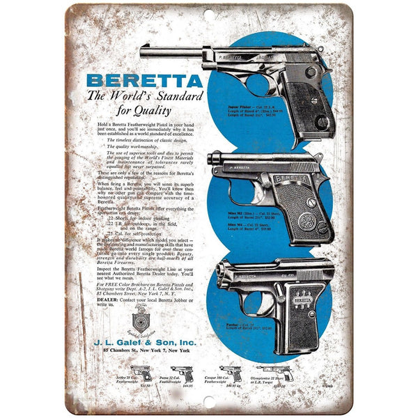 "Beretta Firearms Galef & Sons Vintage Ad 10"" x 7"" Reproduction Metal Sign"