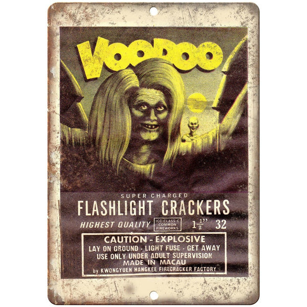 "Voodoo Firecracker Package Art 10"" X 7"" Reproduction Metal Sign ZD54"