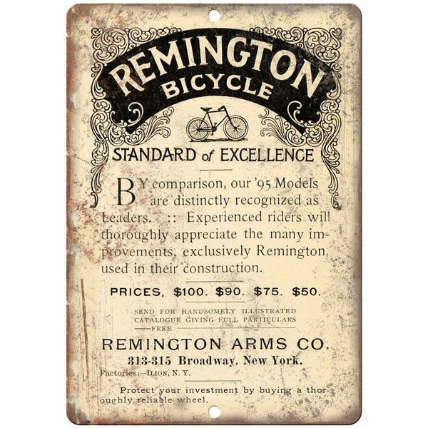 "Remington Arms Co. Bicycle Vintage Art Ad 10"" x 7"" Reproduction Metal Sign B430"