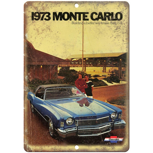 "1973 Chevy Monte Carlo Vintage Ad 10"" x 7"" Reproduction Metal Sign"