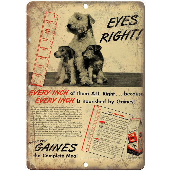 "Gaines Dog Meal Vintage Puppy Ad 10"" X 7"" Reproduction Metal Sign N363"
