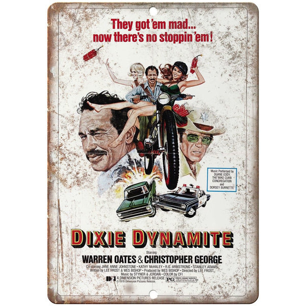 "Dixie Dynamite Warren Oates Movie Poster 10"" x 7"" Reproduction Metal Sign"