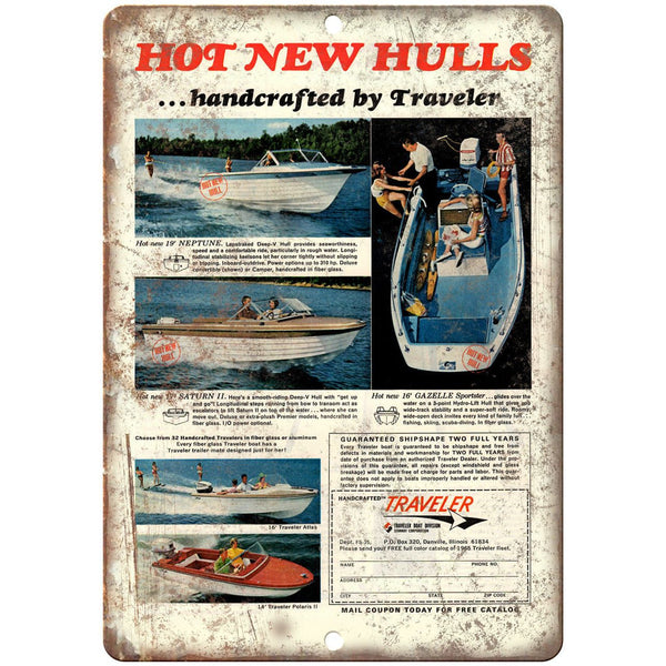 "Traveler Boat Vibtage Ad 10"" x 7"" Reproduction Metal Sign L61"