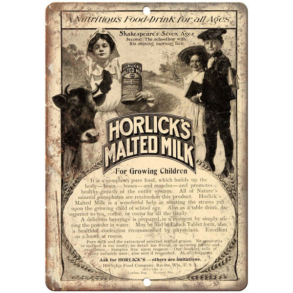 "Horlick's Malted Milk Vintage Ad 10"" X 7"" Reproduction Metal Sign N288"