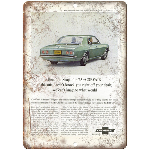 "1965 Chevy Corvair Vintage Print Ad Retro Look 10"" x 7"" Reproduction Metal Sign"