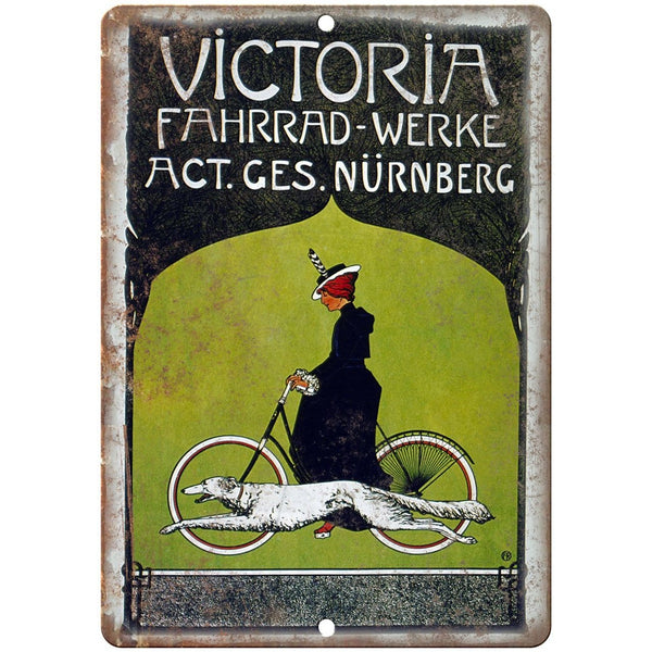 "Victoria Bicycles Vintage Ad 10"" x 7"" Reproduction Metal Sign B303"