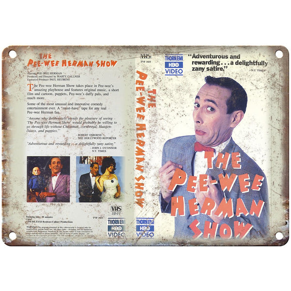 "Pee-Wee Herman Show VHS Box Art Thorn EMI 10"" X 7"" Reproduction Metal Sign V34"