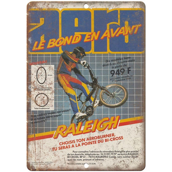 "Raleigh BMX, Freestyle BMX , RARE Racing advertisment 10"" x 7"" retro metal sign"