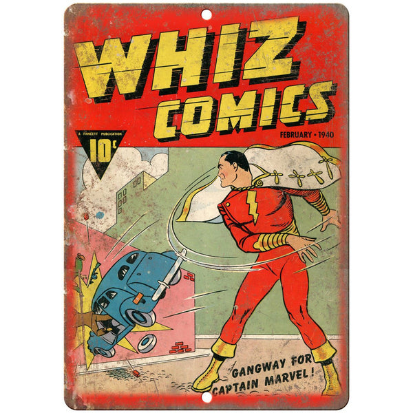 "Whiz Comics Book Cover Vintage Art 10"" x 7"" Reproduction Metal Sign J700"