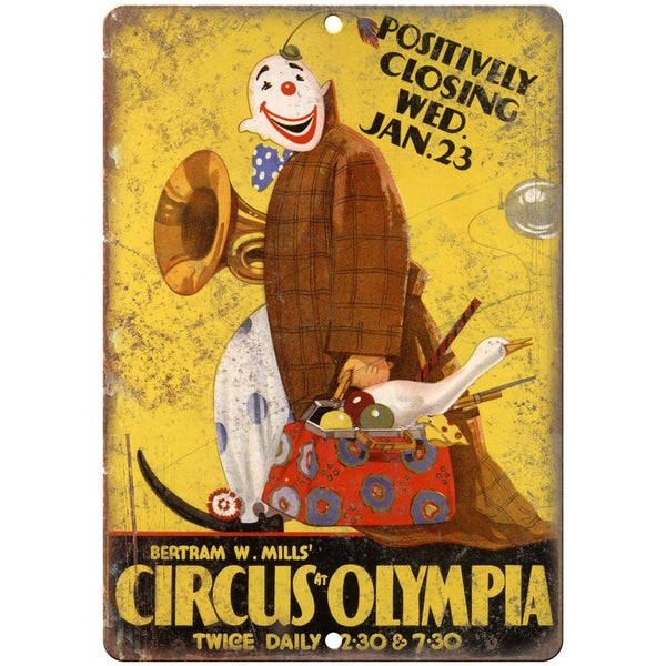 "Circus At Olympia Bertram W. Mills 10"" X 7"" Reproduction Metal Sign ZH43"