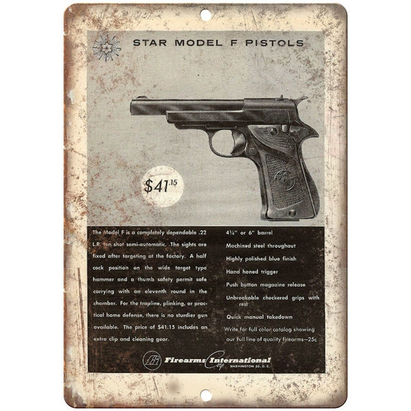 "Firearms International Star Model F Pistols 10"" x 7"" Reproduction Metal Sign"