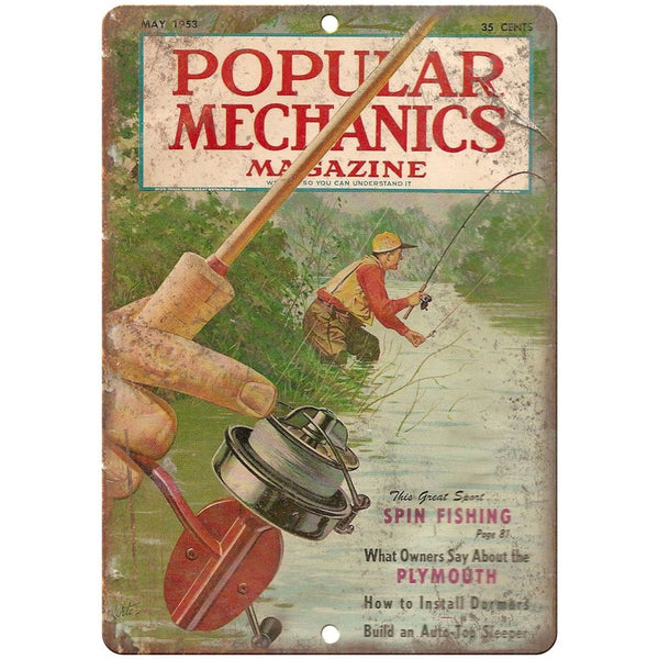 "1953 Popular Mechanics Spin Fishing Cover 10"" x 7"" reproduction metal sign"