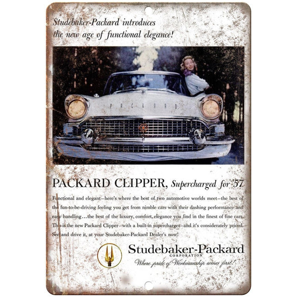 "1957 Studebaker Parkard Clipper Car Ad 10"" x 7"" Reproduction Metal Sign A440"