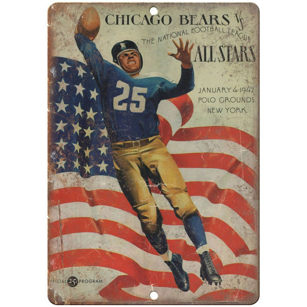 "1942 Chicago Bears All Stars Football 10"" x 7"" Vintage Look Reproduction"