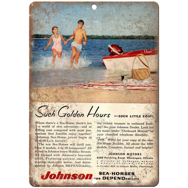 "Johnson Sea Horses Outboard Motor Fishing Boat 10"" x 7"" Reproduction Metal Sign"