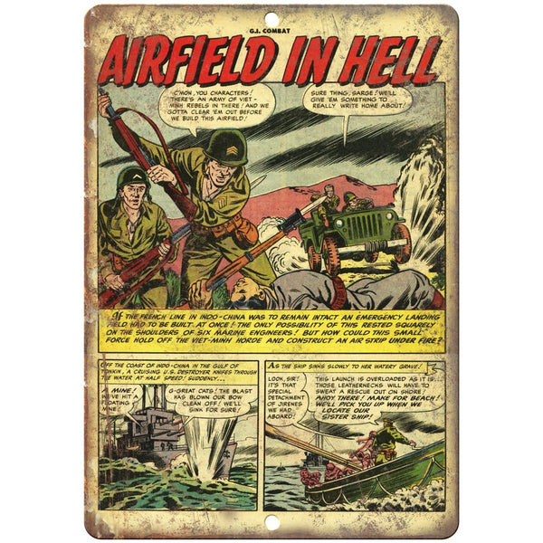 "Airfield In Hell Vintage Comic Strip 10"" X 7"" Reproduction Metal Sign J282"