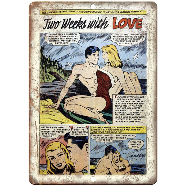 "Ace Comics Two Weeks with Love Strip 10"" X 7"" Reproduction Metal Sign J390"