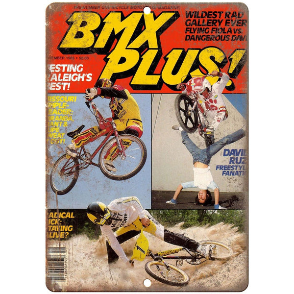1983 BMX Plus magazine 10' x 7' reproduction metal sign