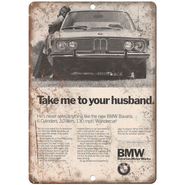 "1972 BMW Bavarian Motor Works Vintage Ad 10"" x 7"" Reproduction Metal Sign A105"