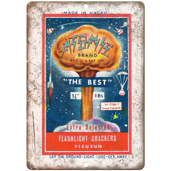 "Atomic Brand Firework Package Art 10"" X 7"" Reproduction Metal Sign ZD86"