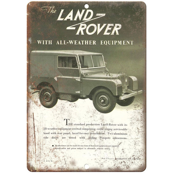 "Land Rover Jeep Vintage Ad - 10"" x 7"" Retro Look Metal Sign"