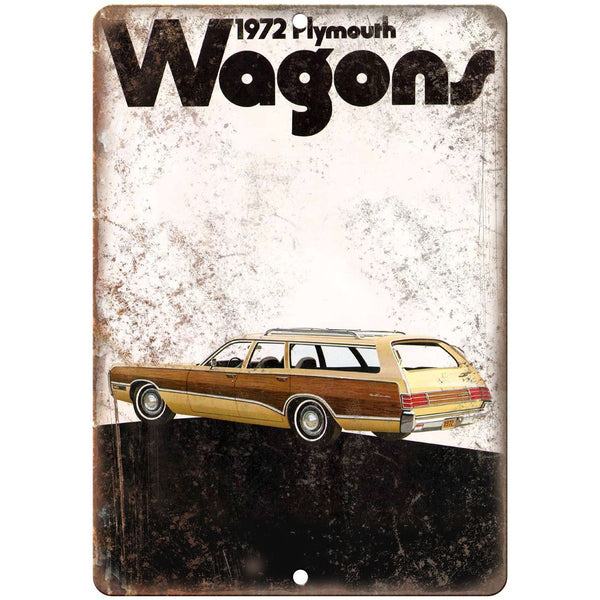 "1972 Plymouth Wagon Car Sales Flyer Ad 10"" x 7"" Reproduction Metal Sign"