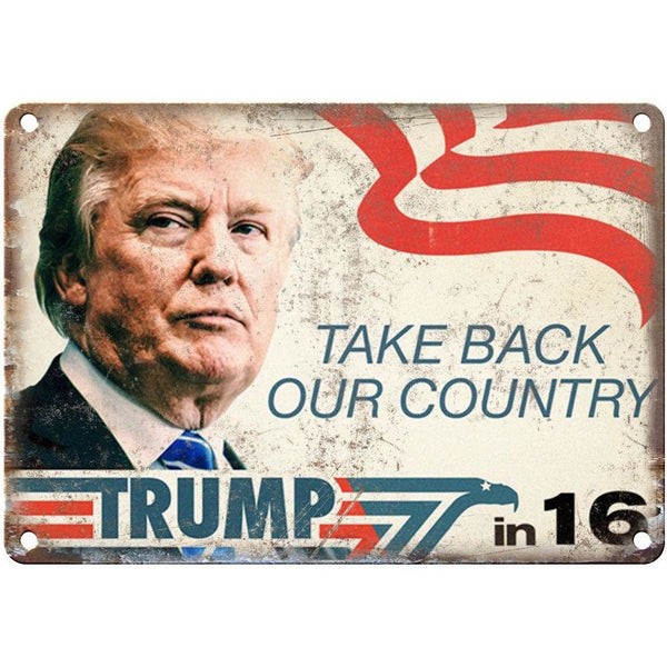 "10"" x 7"" Metal Sign - Trump Make America Great Again -Vintage Look Reproduction"