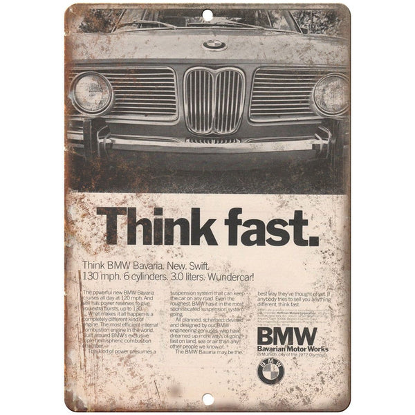 "BMW Think Fast Bavarian Motor Works Ad 10"" x 7"" Reproduction Metal Sign A103"