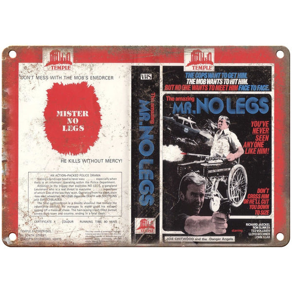 "Mr. No Legs Temple Enterprises VHS Cover Art 10""X7"" Reproduction Metal Sign V01"