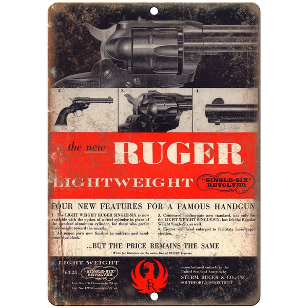 "Ruger lightweight Single-Six Revolver 10"" x 7"" Reproduction Metal Sign"