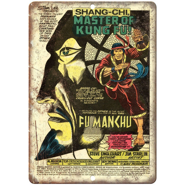 "Shang-Chi Master Of Kung Fu Comic Cover Ad 10"" x 7"" Reproduction Metal Sign J684"